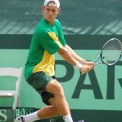 Matt Edben strikes a backhand at the Davis Cup tie in Geelong: Kim Trengove