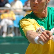 Matt Ebden in action at the Geelong Davis Cup tie against China: Kim Trengove