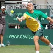 Matt Ebden runs for a forehand during the Davis Cup tie at Geelong: Kim Trengove