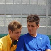 Matt Ebden and Bernard Tomic courtside at the Davis Cup in Geelong: Kim Trengove