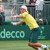 Lleyton Hewitt in action during the Davis Cup tie in Geelong: Kim Trengove
