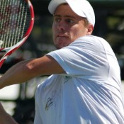 Lleyton Hewitt takes a swing at the ball: Tennis Australia