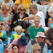 Bec Hewitt watches her husband Lleyton with children Mia and Cruz at the Davis Cup in Geelong: Kim Trengove
