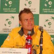 Lleyton Hewitt addresses the press