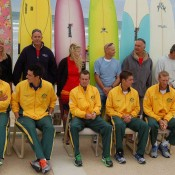 The Australian Davis Cup team at the official draw at Ocean Grove: Tennis Australia