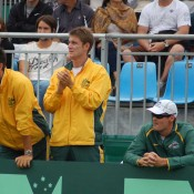 Matt Ebden and Bernard Tomic cheer Lleyton Hewitt from the sidelines in Geelong: Kim Trengove