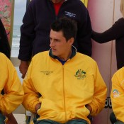 Pat Rafter, Bernard Tomic and Lleyton Hewitt at the Davis Cup draw held at Ocean Grove: Tennis Australia