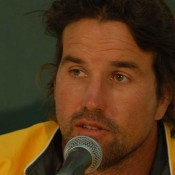 Pat Rafter addresses the press