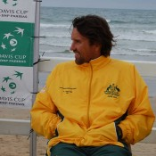 Pat Rafter enjoys the Davis Cup draw ceremony at Ocean Grove: Tennis Australia