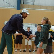 Pat Rafter at Torquay College for Hot Shots demonstration: Tennis Australia