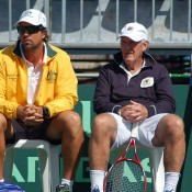Australian Davis Cup captain Pat Rafter and coach Tony Roche: Tennis Australia