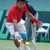 Wu Di in action against Bernard Tomic at the Davis Cup tie in Geelong: Kim Trengove