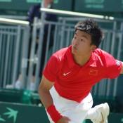 Wu Di serves at the Davis Cup tie against Australia: Kim Trengove