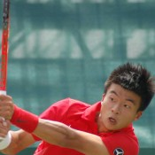 China's Wu Di in action against Bernard Tomic at the Davis Cup tie in Geelong: Kim Trengove