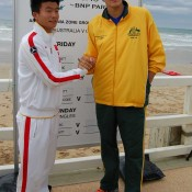 Wu Di with Bernard Tomic at the official draw for the Davis Cup Australia v China tie: Tennis Australia