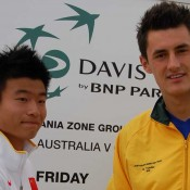 Bernard Tomic and Wu Di at the Davis Cup draw, Ocean Grove: Tennis Australia