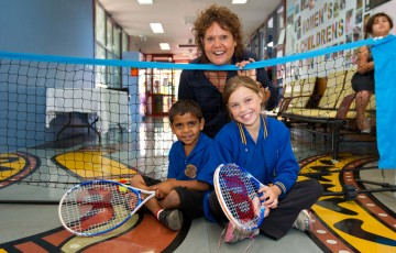 Evonne Goolagong at the Learn Earn Legend! Tennis launch.