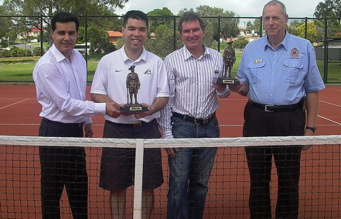 (L-R) Tournament Founder Umit Oraloglu, Tennis Australia's Representative Francis Soyer, Ipswich Chair of Parks, Sport and Recreation Cr David Morrison and Ipswich Sub Branch RSL's representative Paul Ninnes; Tennis Australia