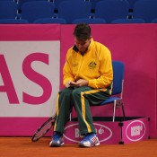 Head of Professional Tennis Todd Woodbridge at the Aussie team's practice session; Tennis Australia