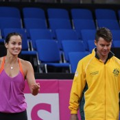 Jarmila Gajdosova (L) and Todd Woodbridge at the Aussie Fed Cup team's Thursday practice session; Tennis Australia