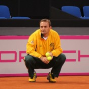 Fed Cup captain David Taylor watches over proceedings at the Australian team's practice session at Porsche Arena in Stuttgart; Tennis Australia