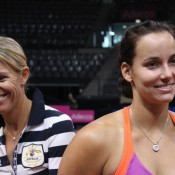 Fed Cup coach Nicole Bradtke (L) and Jarmila Gajdosova share a light moment at the Australians' practice session; Tennis Australia