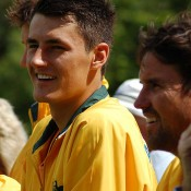 Bernard Tomic and Pat Rafter.Kim Trengove/Tennis Australia