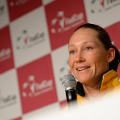 Sam Stosur chats to the media following her win in the opening singles match of the Australia v Germany Fed Cup tie; Getty Images