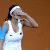 A tense Goerges struggled to deal with Gajdosova's devastating power and ball-striking throughout the match; Getty Images