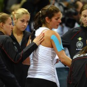 Goerges was consoled by her German teammates following her loss to Gajdosova; Getty Images