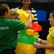 The Aussie team celebrate their 2-0 lead with an inflatable kangaroo following Gajdosova's straight-set defeat of Goerges; Getty Images