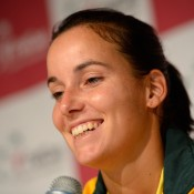 Jarmila Gajdosova chats to the media after beating Julia Goerges 6-4 6-4 in the Australia v Germany Fed Cup World Group Play-off tie on Saturday; Getty Images