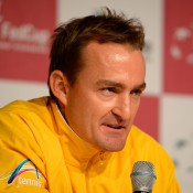 David Taylor chats to the media after Australia secures a 2-0 lead over Germany in its Fed Cup tie, but warns the job is not done yet; Getty Images