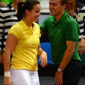 Gajdosova celebrates her victory with Australia Fed Cup captain David Taylor; Getty Images