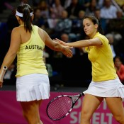 Casey Dellacqua (L) and Jarmila Gajdosova combined for Australia in the final doubles rubber; Getty Images