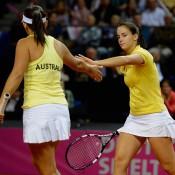 Casey Dellacqua (L) and Jarmila Gajdosova combined for Australia in the final doubles rubber; Getty Images