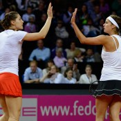 German duo Andrea Petkovic (L) and Julia Goerges were too strong for the Australian combo in the dead doubles rubber, winning it 6-3 6-4; Getty Images