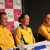 (L-R) David Taylor, Sam Stosur and Olivia Rogowska at the pre-tie media conference; Tennis Australia