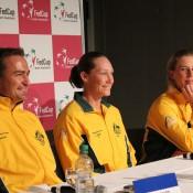 (L-R) David Taylor, Sam Stosur and Olivia Rogowska at the pre-tie media conference; Tennis Australia