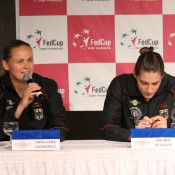 Anna-Lena Groenefeld (L) and Andrea Petkovic; Tennis Australia