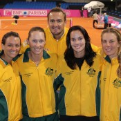 The Australian team of (L-R) Casey Dellacqua, Sam Stosur, captain David Taylor, Jarmila Gajdosova and Olivia Rogowska pose for a photo at Stuttgart's Porsche Arena; Tennis Australia