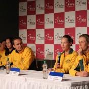 The Australian team at the pre-tie media conference - (L-R) Casey Dellacqua, Jarmila Gajdosova, captain David Taylor, Sam Stosur and Olivia Rogowska; Tennis Australia