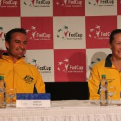 David Taylor (L) and Sam Stosur share a light moment at the media conference; Tennis Australia