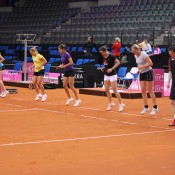 The German team are put through their paces during a practice session at Porsche Arena in Stuttgart; Tennis Australia