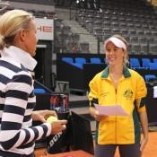 Olivia Rogowska (R) interviews Fed Cup coach Nicole Bradtke; Tennis Australia