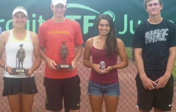 (L-R) Gallipoli Youth Cup winners Ellen Perez and Harry Bourchier alongside finalists Isabelle Wallace and Bradley Mousley; Tennis Australia