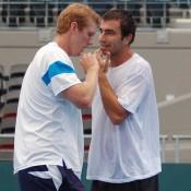 Chris Guccione and Marinko Matosevic at Davis Cup practice, Brisbane.