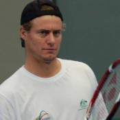 Lleyton Hewitt looks on at an Australian Davis Cup practice session in Brisbane.