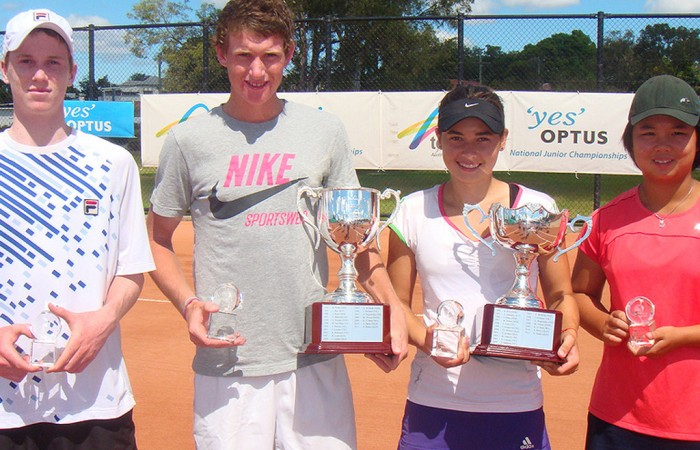 (L-R) Jake Delaney, Harry Bourchier, Isabelle Wallace and Olivia Tjandramulia show off their trophies from the 2012 Optus 16s National Claycourt Championships; Tennis Australia