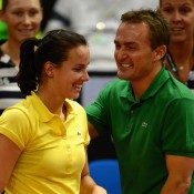 Jarmila Gajdosova celebrates with Australian captain David Taylor after defeating Julia Goerges on Day 1 of the Fed Cup World Group Play-off tie between Germany and Australia at Porsche Arena in Stuttgart, Germany; Getty Images